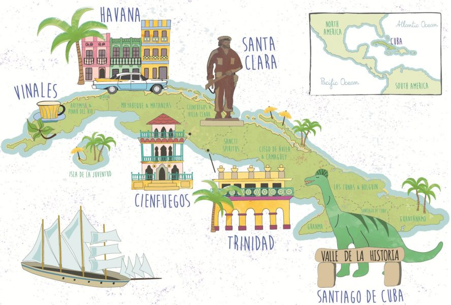 Illustrated Tourist Map of Cuba