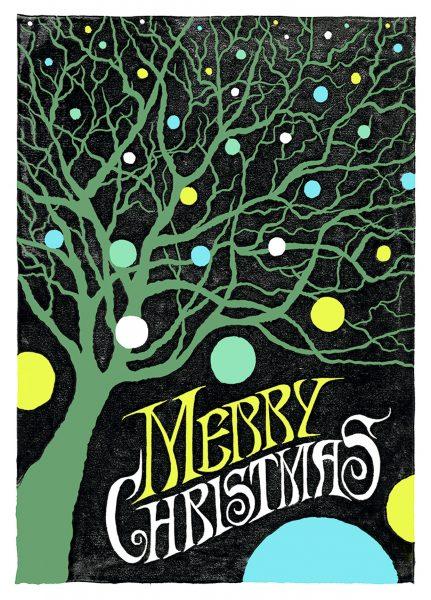 linocut christmas card