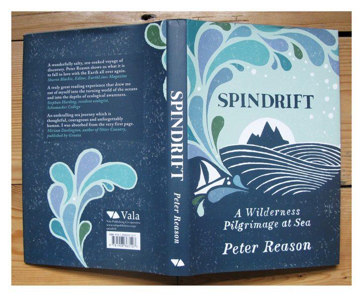 linocut illustration for 'Spindrift' book cover