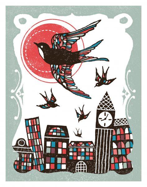 linocut swift illustration for Lost in London book