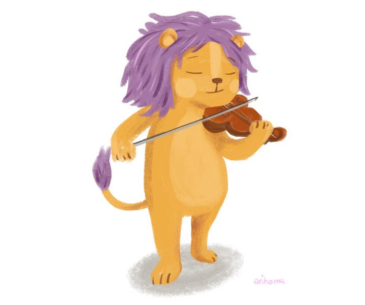 Lion playing the Violin