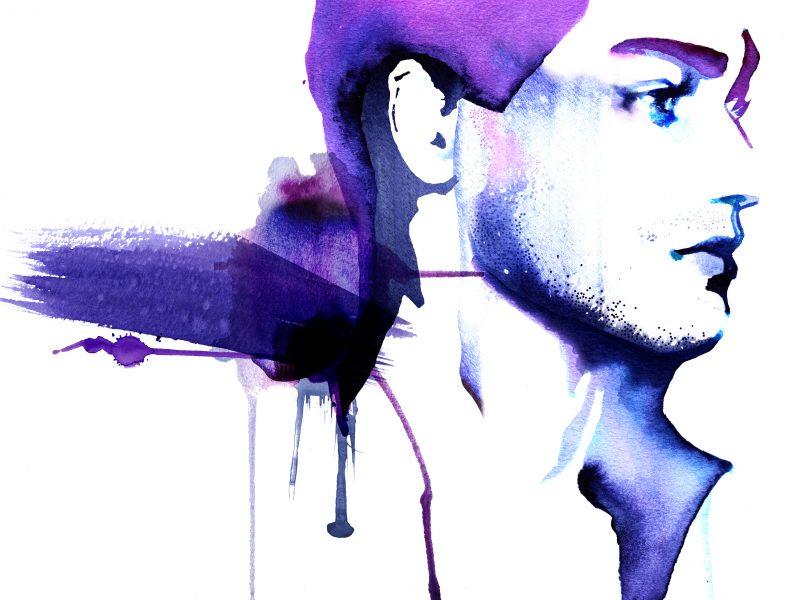Male Skincare Portrait in Blue
