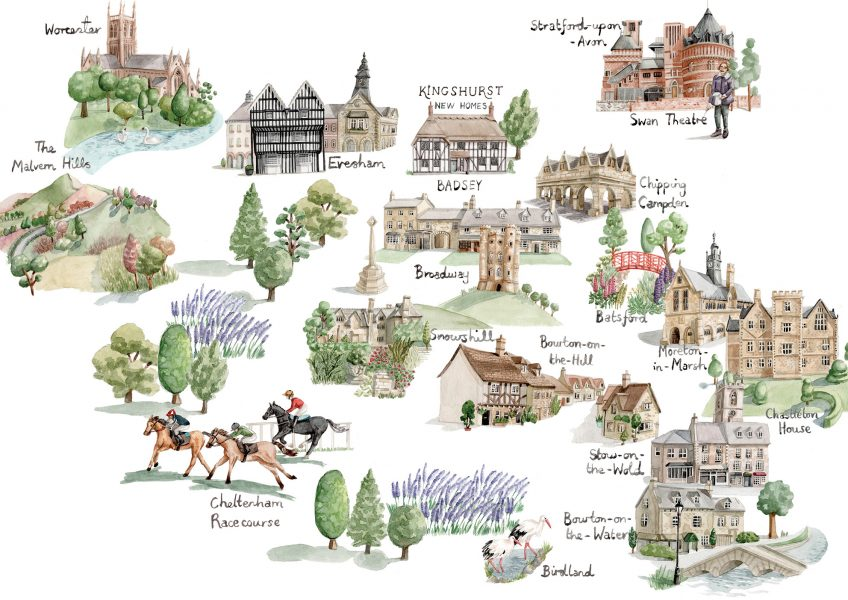 Map of the Cotswolds for Kingshurst Homes and Philosophy Design