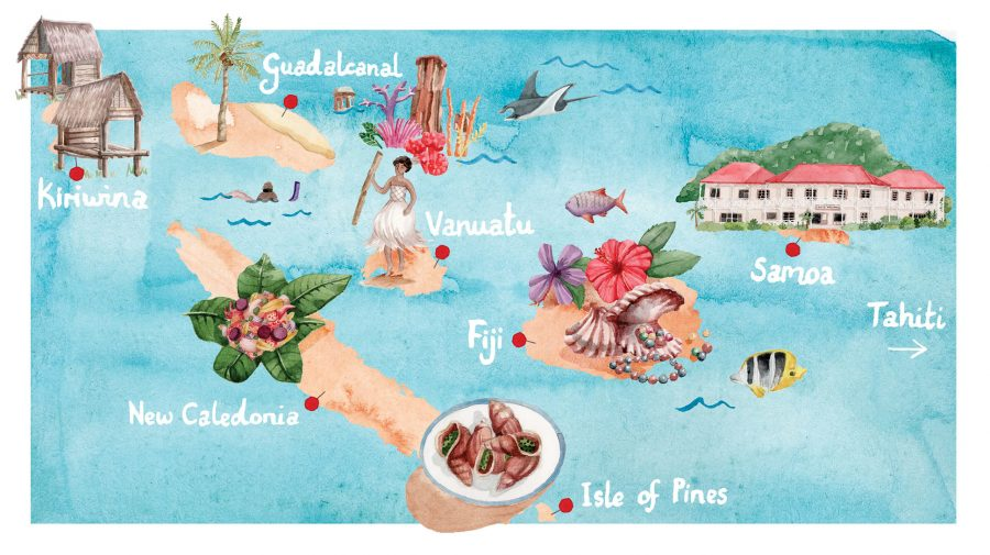 Map of the South Pacific Islands for Princess Cruises' Journey Magazine