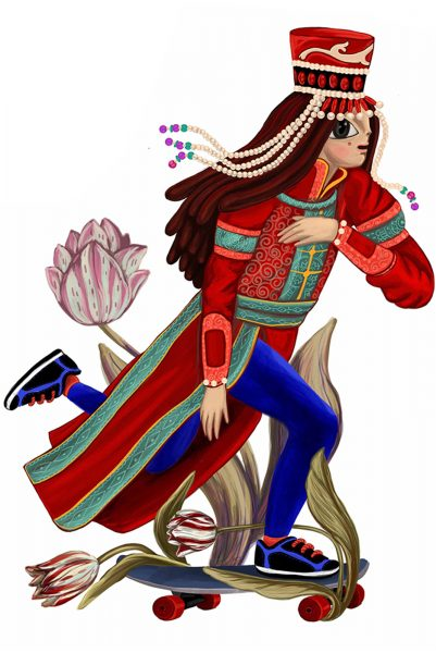 Mongolian girl on skate