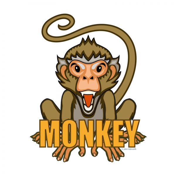 John Ashworth Monkey fun cartoon character animal nature cute pop Logo icon brand