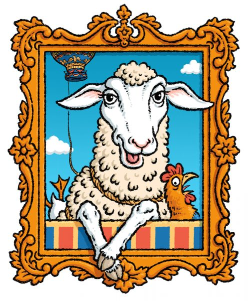 Montauciel the sheep. For BA 'Skyflyers' magazine