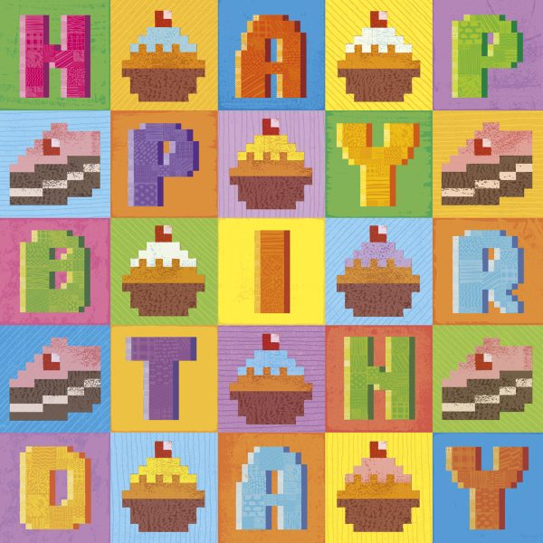 Pixel Love birthday card