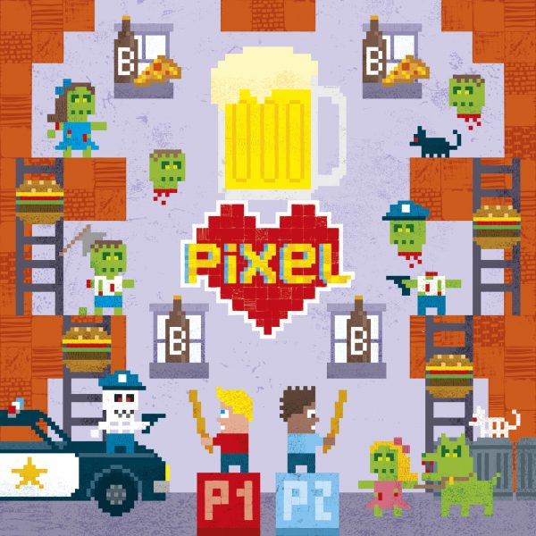 Pixel Love greeting card:  Birthday card