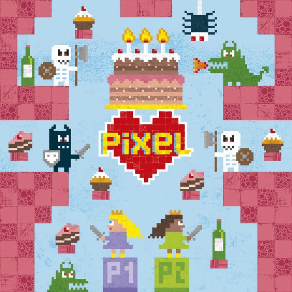 Pixel Love greeting card: Birthday Princess card