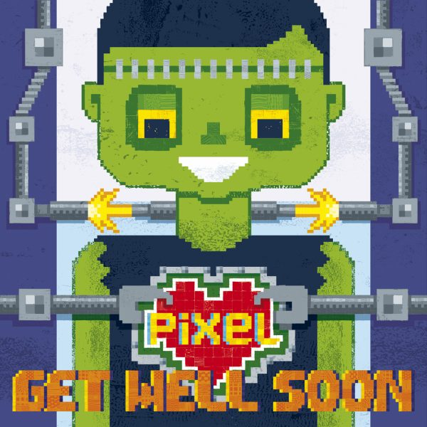 Pixel Love greeting card 'Get well soon'