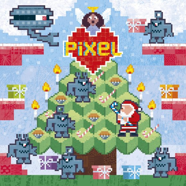 Pixel Love greeting card: Santa Vs the Martian Robots