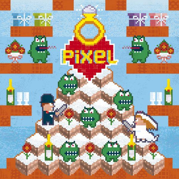 Pixel Love greeting card:  wedding congratulations card