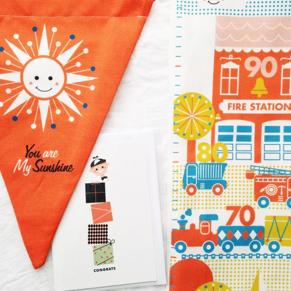 Product design and illustration for children's decor growth chart, greeting card and pennant.