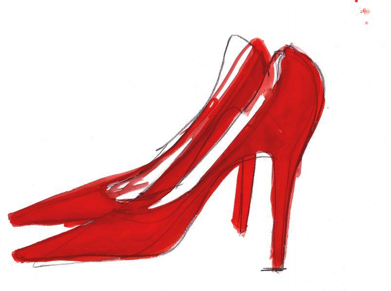 Red Shoes Print Pentagram Design
