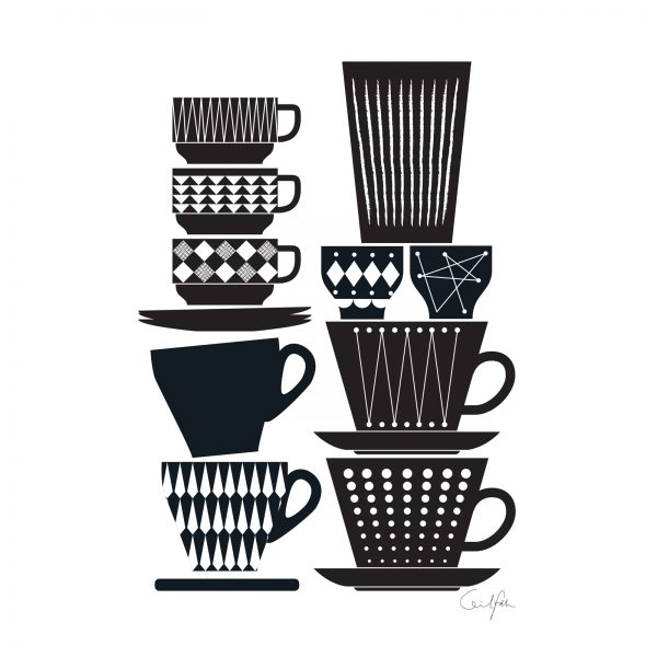 Retro inspired coffee cups for  Greeting Cards & Print