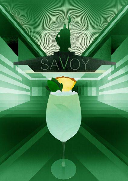 Savoy Hotel - American cocktail bar menu Illustrations