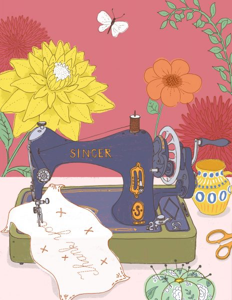 Sewing Machine and Flowers
