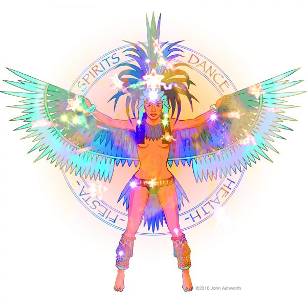 John Ashworth SPIRITS DANCE female positive body image beauty health fitness sensual dance music ethnic tribal pop event festival poster icon brand logo