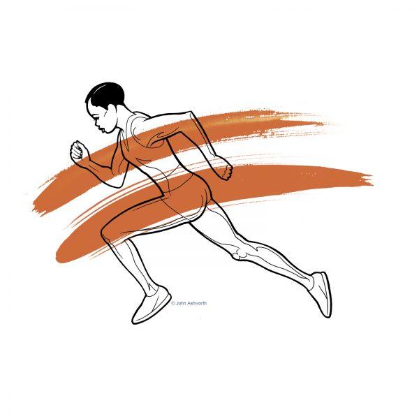 John Ashworth Sprinter Female Sport Health Beauty Fitness Positive Body Image realistic figure olympics athlete running symbol icon logo brand