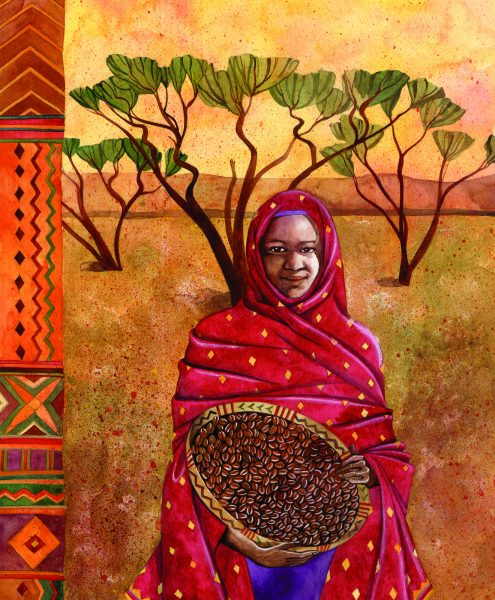 Sudanese Woman with a basket of beans