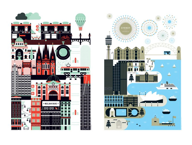 Sydney and Melbourne city illustration for textile, print and greeting card