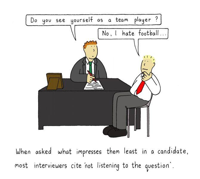 Team talk at interviews.