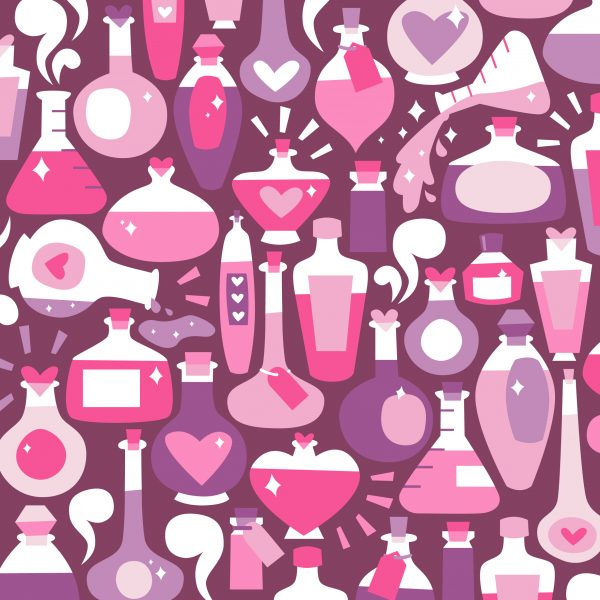 Love Potions Valentines Illustration Surface Pattern Design