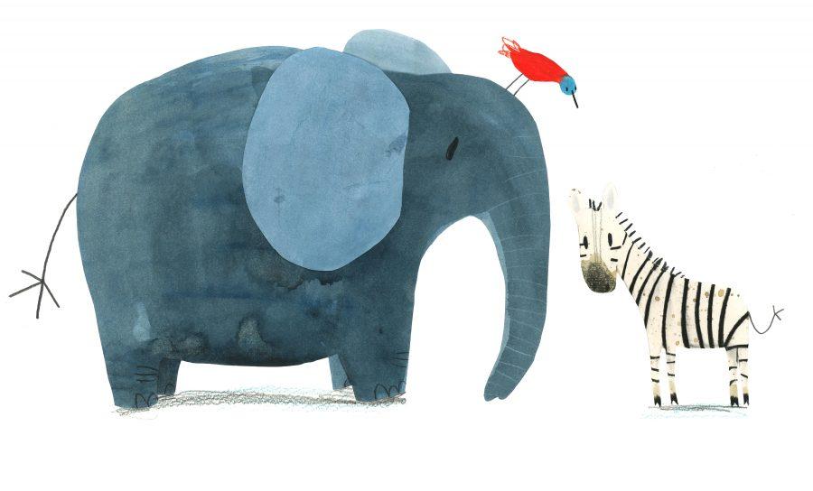 Zebra, Elephant and Bird